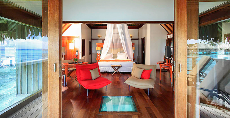 The master bedroom in an Over Water Bungalow
