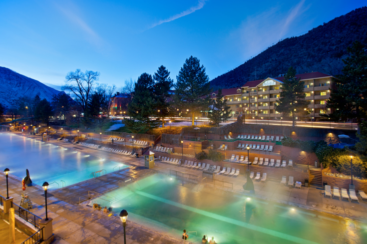 The exterior of Glenwood Hot Springs Lodge in Colorado