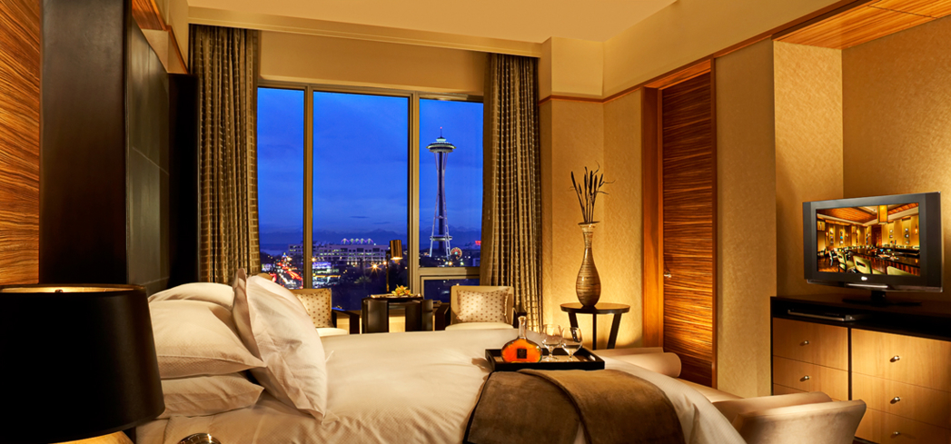 A guest room at the Pan Pacific Hotel Seattle in Washington