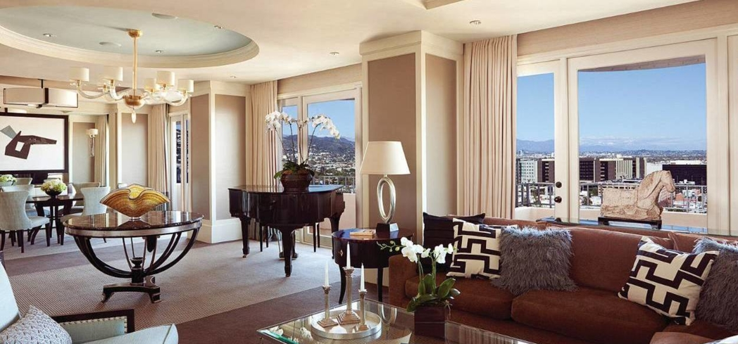 The Presidential Suite East living room at Four Seasons Los Angeles at Beverly Hills
