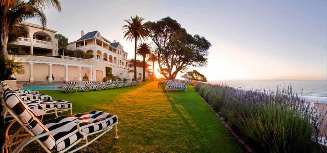 The sun sets on Ellerman House in Cape Town