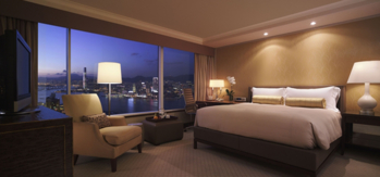 A guest room at Conrad Hong Kong