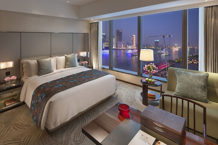 The deluxe river room at the Mandarin Oriental hotel in Shanghai.