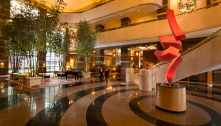 The hotel lobby and artwork