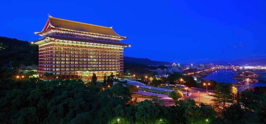 The landmark Grand Hotel in Taipei at dusk