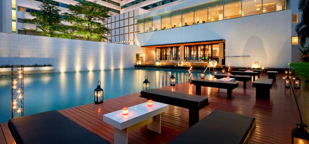 Nahm Restaurant and the main pool at Metropolitan by COMO, Bangkok