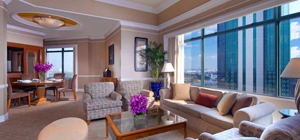 The living room of the presidential suite at the Sheraton Saigon Hotel & Towers