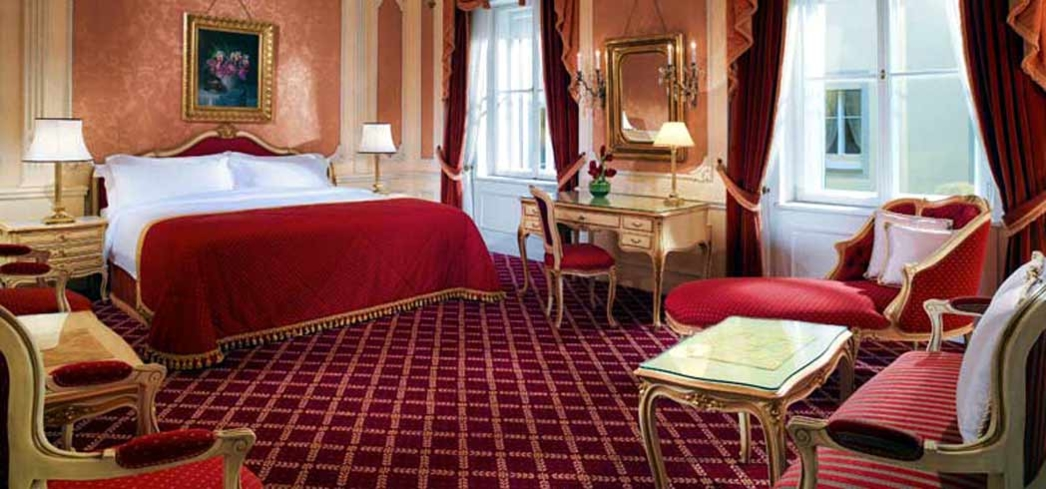A classic room at the luxurious Hotel Imperial in Vienna