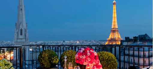 View from the penthouse suite at the Four Seasons Paris