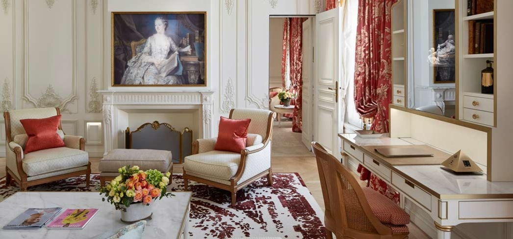 The luxurious Pompadour Suite at Le Meurice in Paris