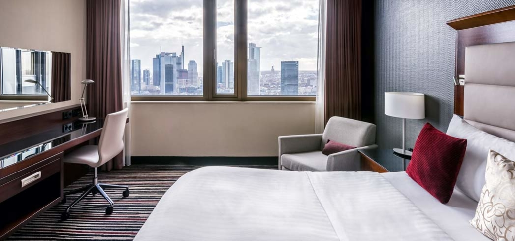 The view from a skyline room at the Marriott Hotel in Frankfurt