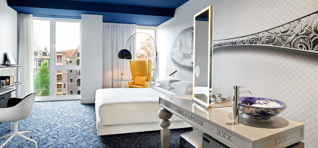 The Large Canal View Room at Andaz Amsterdam Prinsengracht