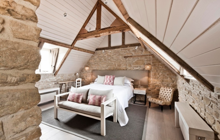 One of the rooms at the Daylesford Organic Farm in Gloucestershire.