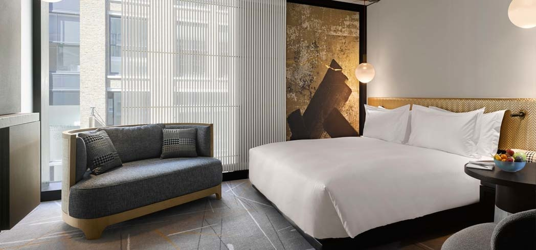 A guest room at Nobu Hotel Shoreditch