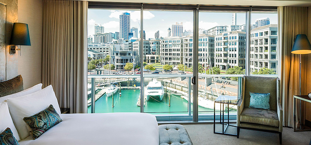 The view from a guest room at Sofitel Auckland Viaduct Harbour