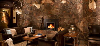 The lobby offers the atmosphere of a luxurious lodge