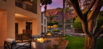 A casita fireplace during sunset at the Phoenician in Scottsdale, Arizona