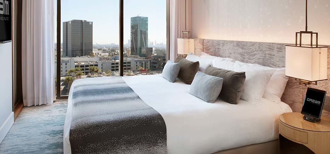 The Platinum Suite Bedroom at Dream Hollywood