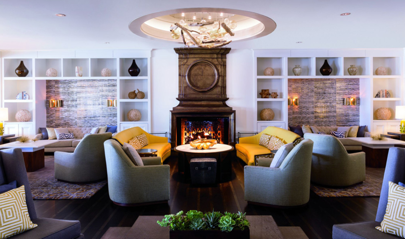 The inviting lounge area at the Ritz-Carlton Marina Del Rey