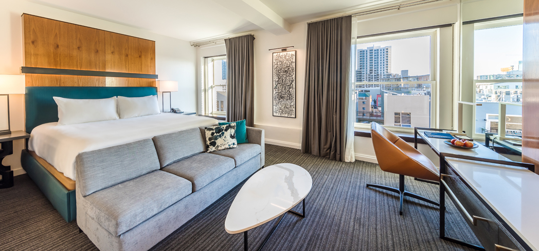 A guest room at Andaz San Diego