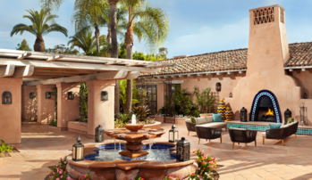 The courtyard of Rancho Valencia Resort & Spa