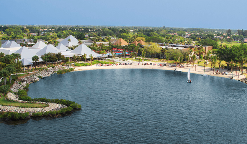 An aerial view of the Club Med Sandpiper Bay Resort.