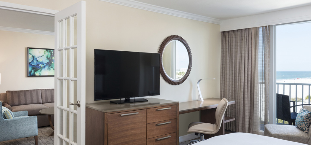 A suite at Hilton Clearwater Beach Resort