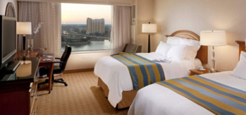 A guest room at Tampa Marriott Waterside Hotel & Marina