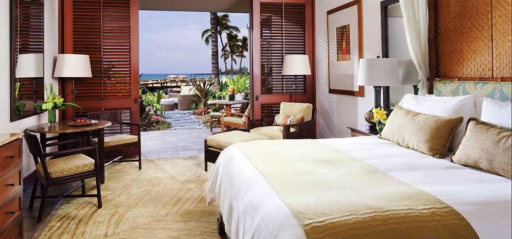 A guest room at Four Seasons Resort Hualalai