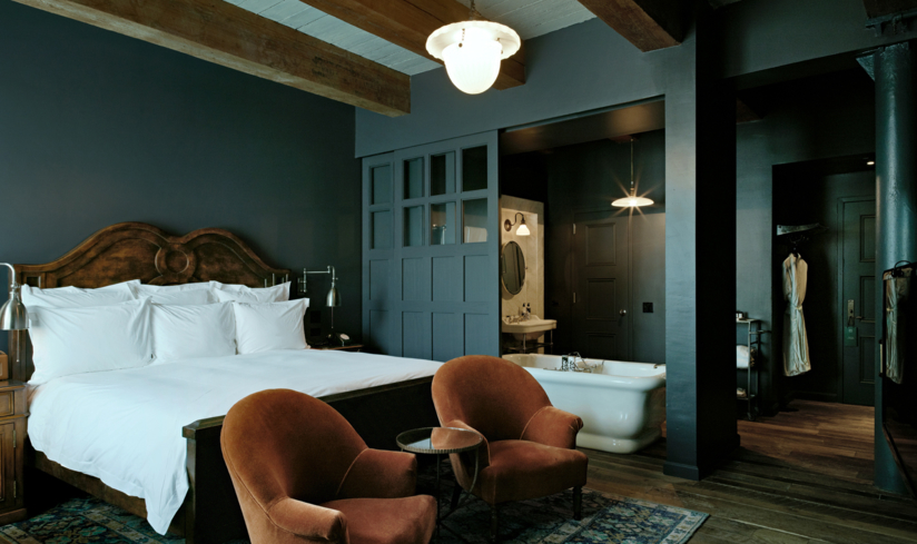 A medium guest room at Soho House New York