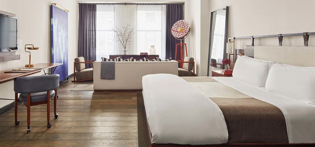 A guest room at The Refinery Hotel