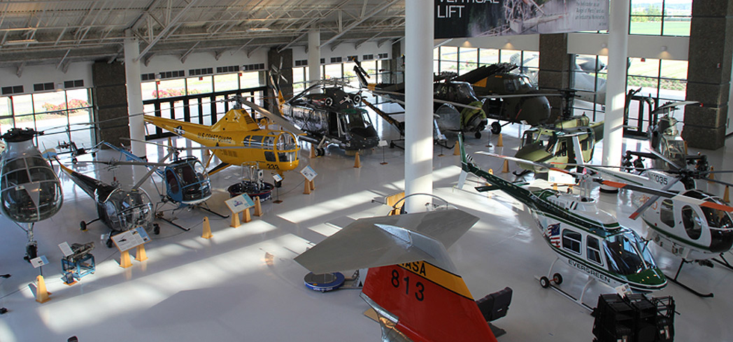 Helicopters on exhibit at the Evergreen Aviation & Space Museum