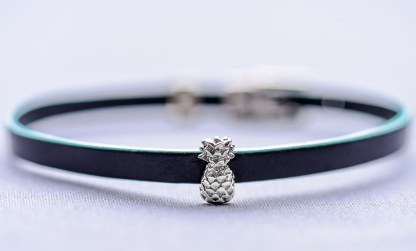 The pineapple charm comes in a bracelet style with two sizes