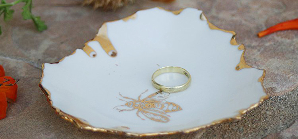 Each Queen Bee White and Gold Ring Dish is handmade and unique