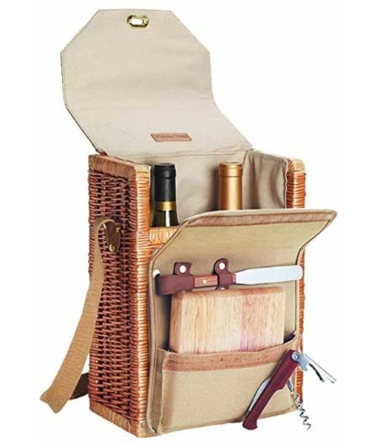 The Wine and Cheese Picnic Basket is a great accessory for afternoons at the park