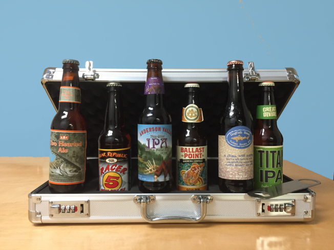 The Craft Beer Briefcase comes with six beers from top-notch breweries around the United States