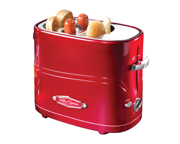 This toaster cooks two regular-size or extra-plump hot dogs and two buns at a time