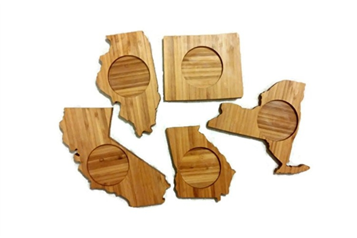 Represent your favorite states on your coffee table with these bamboo coasters, one of GAYOT's Top 10 Holiday Gifts