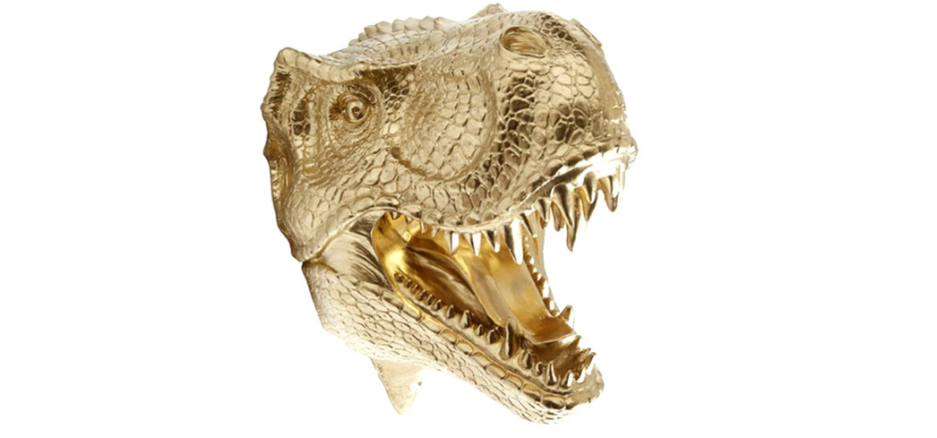 The Gold T-Rex Head Wall Mount by Near & Deer, one of GAYOT's Top 10 Holiday Gifts