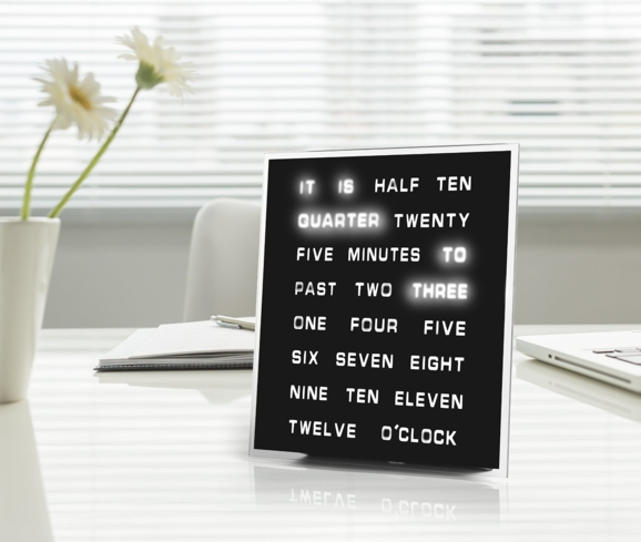 The LED Word Clock is great for the home or office and is one of GAYOT's Top 10 Holiday Gifts