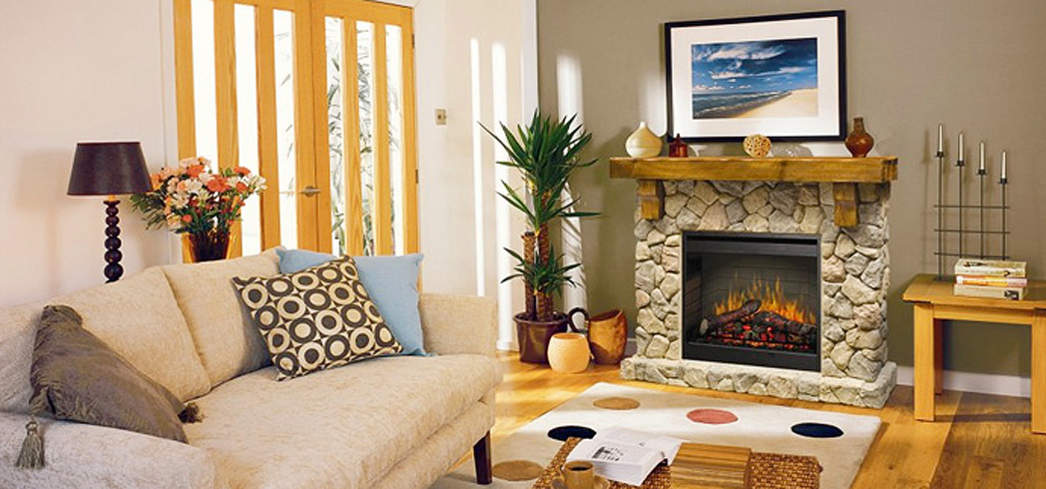 Dimplex Fieldstone Rustic Electric Fireplace Mantel creates a romantic retreat in your home or apartment