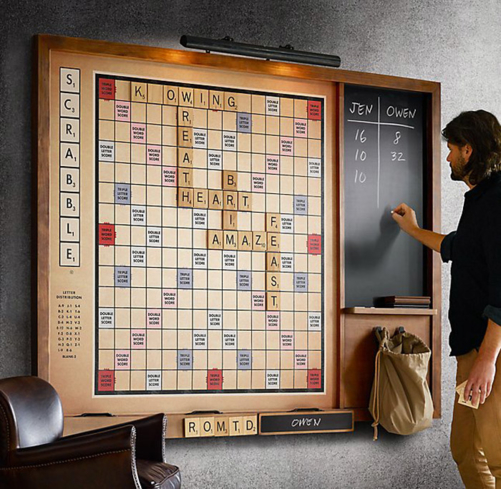 Enjoy a scintillating time with words thanks to Restoration Hardware's Giant Wall Scrabble