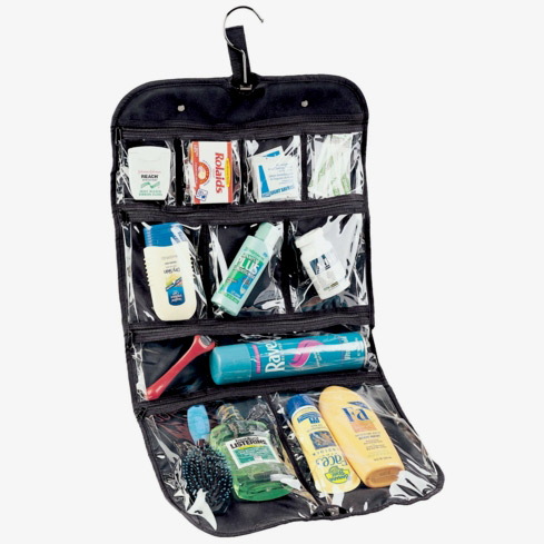This Hanging Cosmetic and Grooming Travel Bag allows you to conveniently store everything from shampoo to dental floss