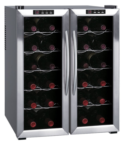 The Double-Door Dual-Zone Thermo-Electric Wine Cooler from SPT holds up to 24 bottles