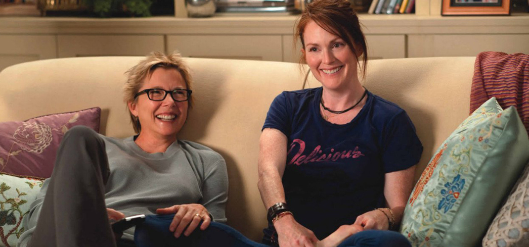 "Annette Bening and Julianne Moore play a married couple in LA with a non-traditional family in ""The Kids Are All Right"""