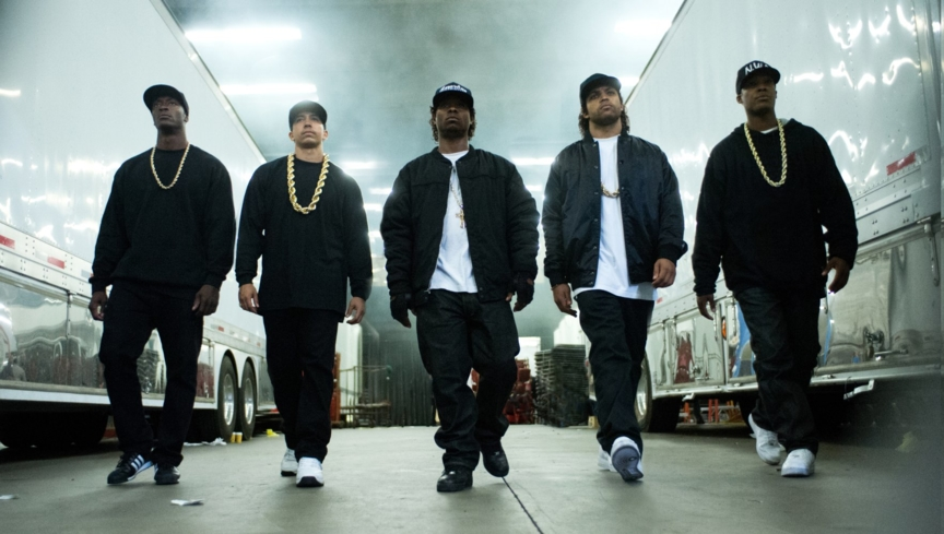 Neil Brown Jr., Aldis Hodge, Corey Hawkins, Jason Mitchell, and O'Shea Jackson Jr. in Straight Outta Compton