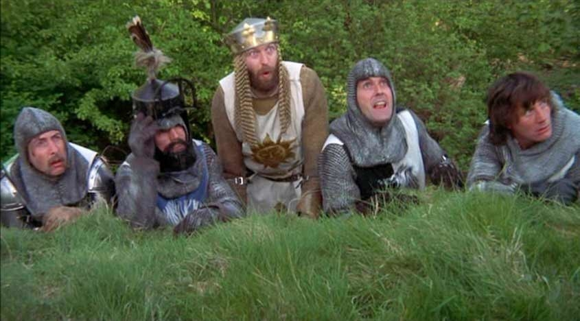 John Cleese, Eric Idle, and Michael Palin in Monty Python and the Holy Grail