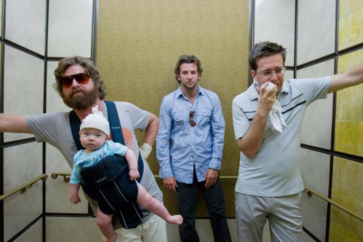 Bradley Cooper, Zach Galifianakis, and Ed Helms in The Hangover