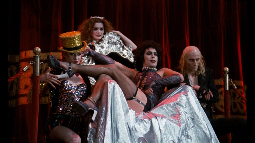 Tim Curry, Nell Campbell, Richard O'Brien, and Patricia Quinn in The Rocky Horror Picture Show