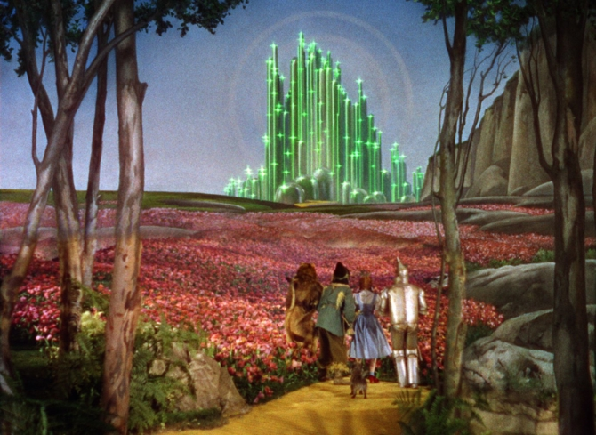 Judy Garland, Ray Bolger, Jack Haley, Bert Lahr, and Terry in The Wizard of Oz